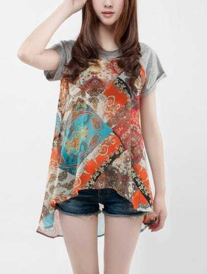 Orange Tribal Print Reglan Sleeve Dipped Hem Chiffon Blouse