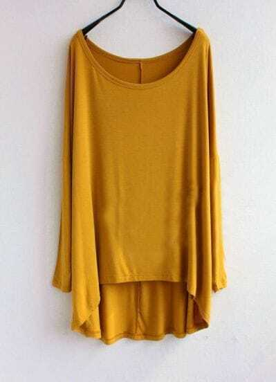 Plain Mustard Round Neck Half Sleeve Dipped Hem T-shirt