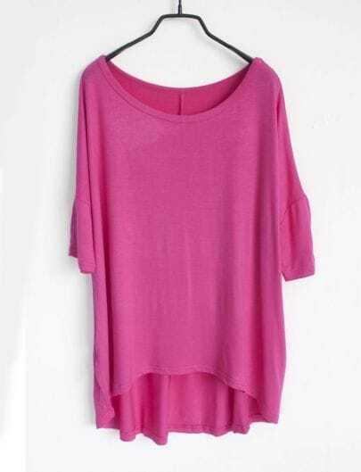 Plain Pink Round Neck Half Sleeve Dipped Hem T-shirt
