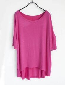 Plain Pink Round Neck Half Sleeve Dipped Hem T-shirt