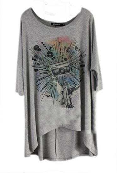 Grey Instrument Tape Printed Short Sleeve Dipped Hem T-shirt
