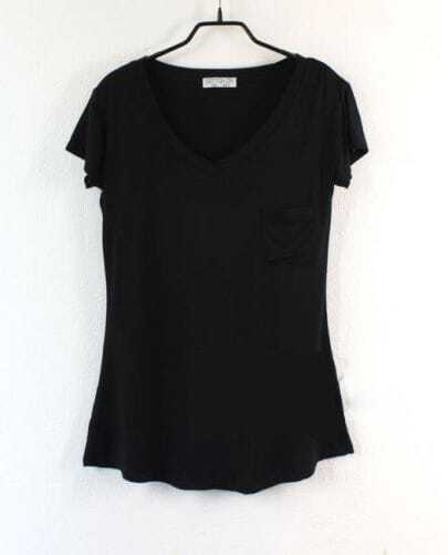 Pocket V Neck Solid Black Short Sleeve T Shirt