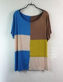 Colorblock Panel Round Neck Short Sleeve T Shirt