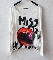 White MISS SIXTY Lip Print Long Sleeve Pocket T Shirt