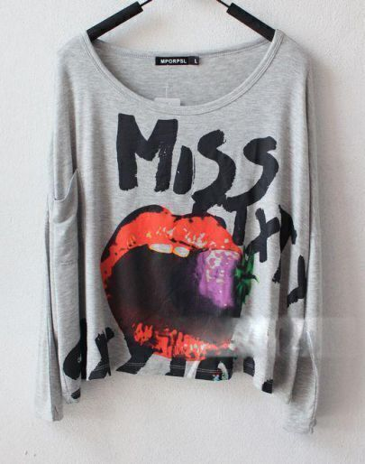 Grey MISS SIXTY Lip Print Long Sleeve Pocket T Shirt
