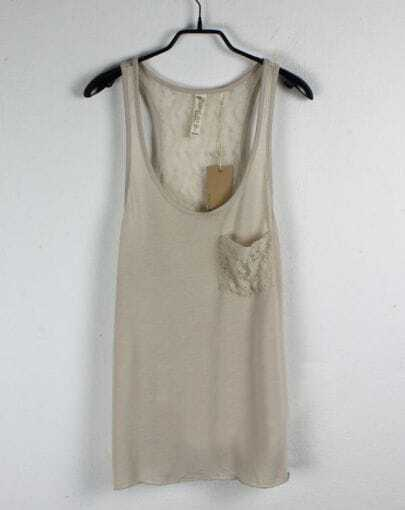 Beige Pocket Scoop Neck Lace Back Vest
