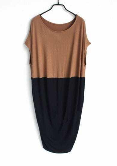 Coffee Black Pin Up Round Neck Short Sleeve Loose Dress