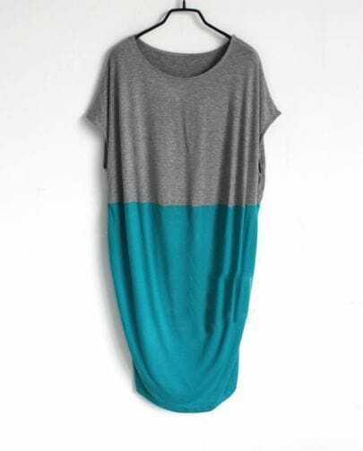 Grey Green Pin Up Round Neck Short Sleeve Loose Dress