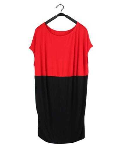 Red Black Pin Up Round Neck Short Sleeve Loose Dress