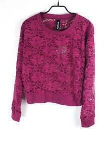 Flowers Eyelet Solid Rose Red Round Neck Long Sleeve Lace Outerwear