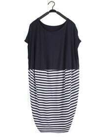 Blue Striped Pin Up Round Neck Short Sleeve Loose Dress