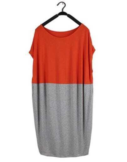 Orange Grey Pin Up Round Neck Short Sleeve Loose Dress