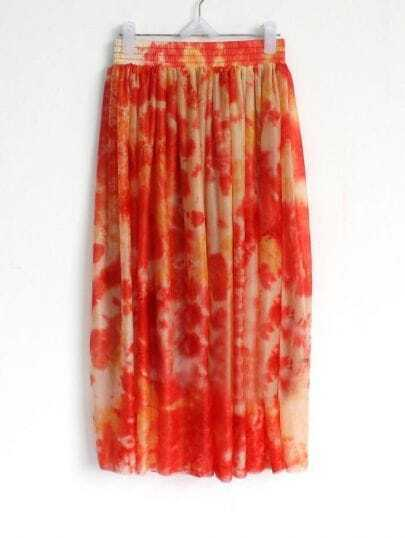 Orange Elasic Waist Chiffon Skirt