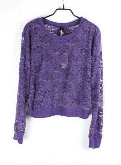Flowers Eyelet Solid Purple Round Neck Long Sleeve Lace Outerwear