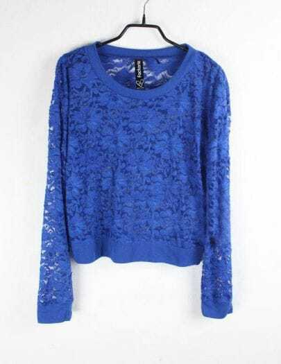 Flowers Eyelet Solid Blue Round Neck Long Sleeve Lace Outerwear