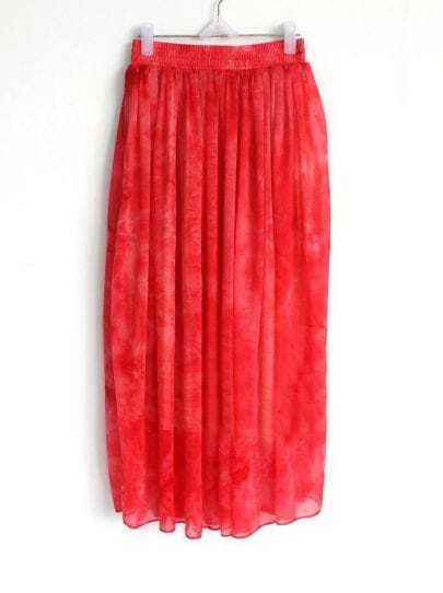 Rose Red Elasic Waist Chiffon Skirt