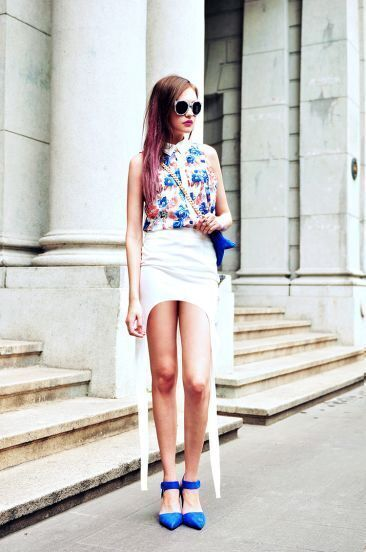 Solid White High Low Bodycon Skirt
