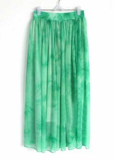 Green Elasic Waist Chiffon Skirt