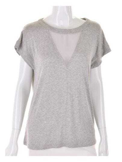 Solid Grey Vintage Backless Round Mesh Neck T-Shirt