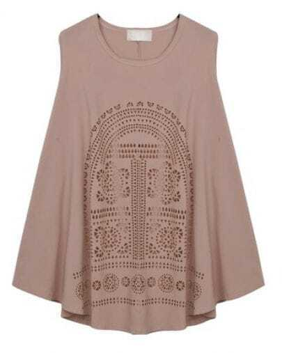 Coffee Round Neck Print Sleeveless T-Shirt