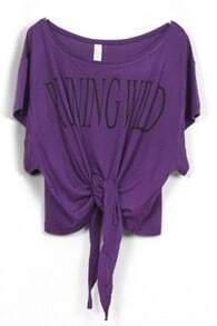 Purple RUNNING WILD Short Sleeve Bow Tie Crop T-Shirt