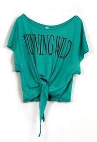 Green RUNNING WILD Short Sleeve Bow Tie Crop T-Shirt