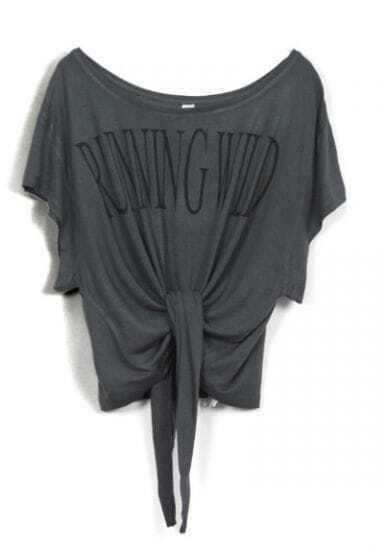 Dark Grey RUNNING WILD Short Sleeve Bow Tie Crop T-Shirt