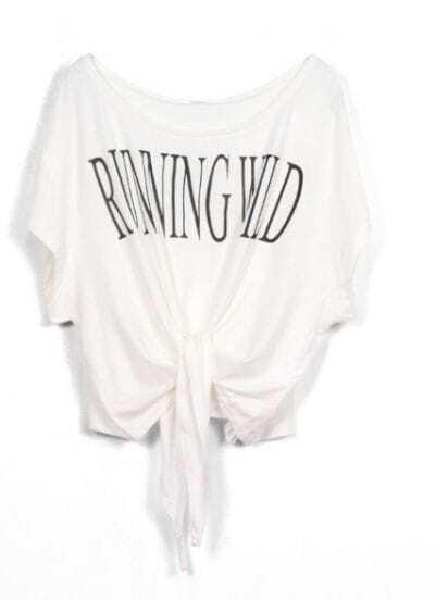 White RUNNING WILD Short Sleeve Bow Tie Crop T-Shirt