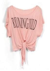 Pink RUNNING WILD Short Sleeve Bow Tie Crop T-Shirt