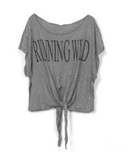 Grey RUNNING WILD Short Sleeve Bow Tie Crop T-Shirt