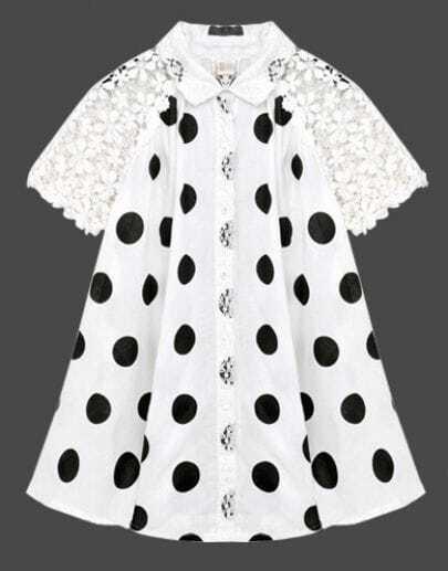 White Floral Lace Reglan Sleeve Dot Tunic Blouse