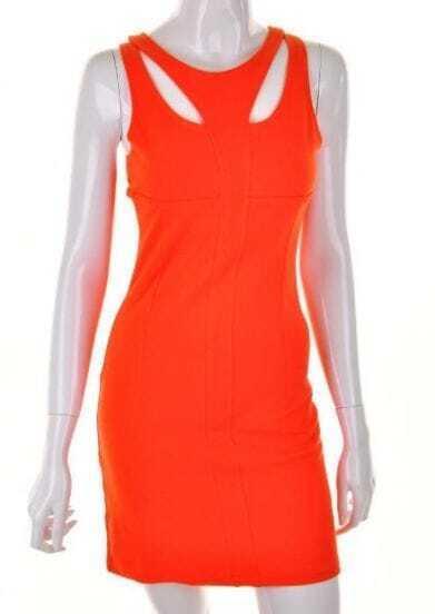 Orange Round Neck sling zipper Mid Waist Dress