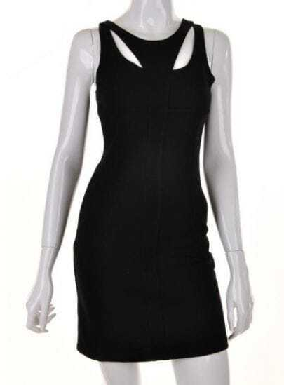Black Round Neck sling zipper Mid Waist Dress