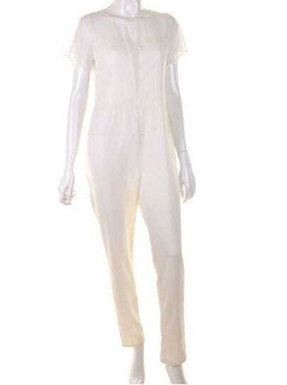 White Round Neck High Waist Jumpsuit