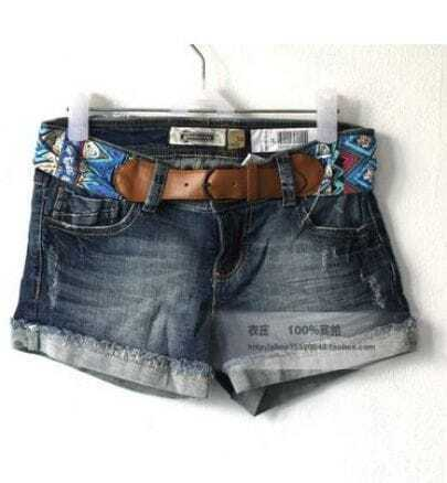 Deep color Low Waist Straight Cowboy Shorts