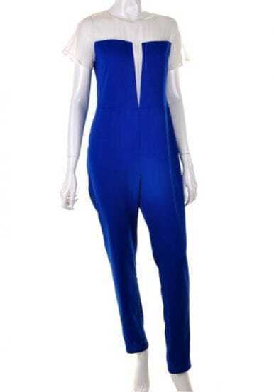 Blue Round Neck High Waist Jumpsuit