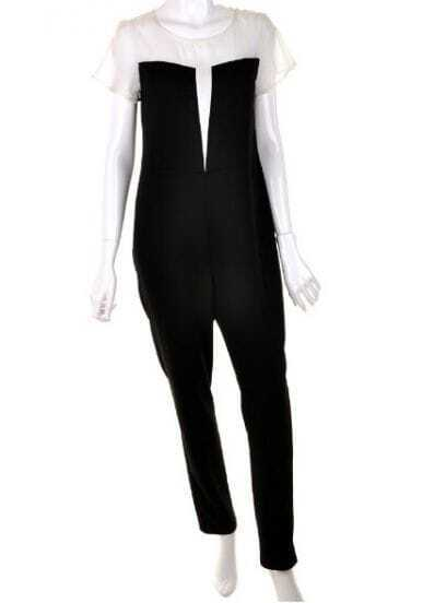 Black Round Neck High Waist Jumpsuit