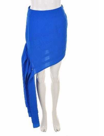 Blue Solid High Waist Asymmetrical Skirt