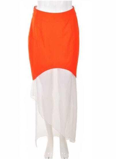 Orange And White Color Block Full-Length Dress
