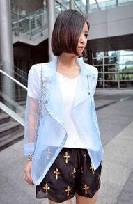 Blue Sheer Silk-like Zipper Side Coat