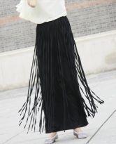 Black Cotton Overlay Fringe Maxi Skirt