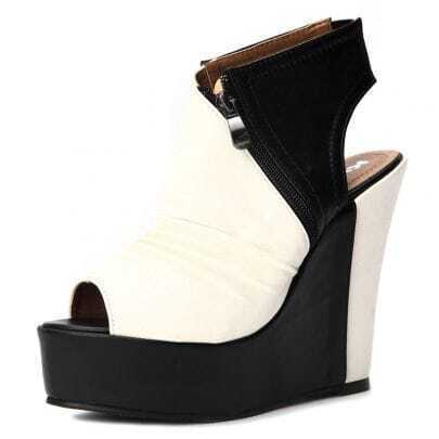 White Black Pin Up PU Pleated 130mm Wedges