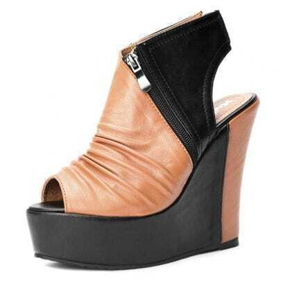 Orange Black Pin Up PU Pleated 130mm Wedges
