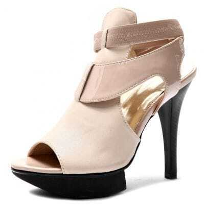 Beige PU And Patent Leather 125mm Sandals