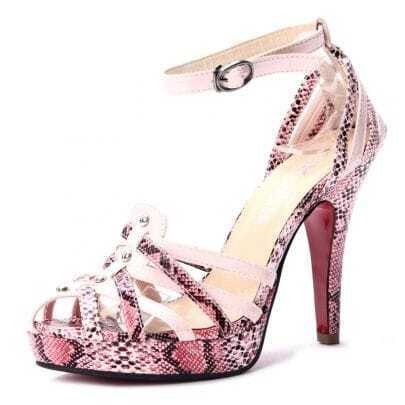 Pink Snake Pattern PU 120mm Sandals