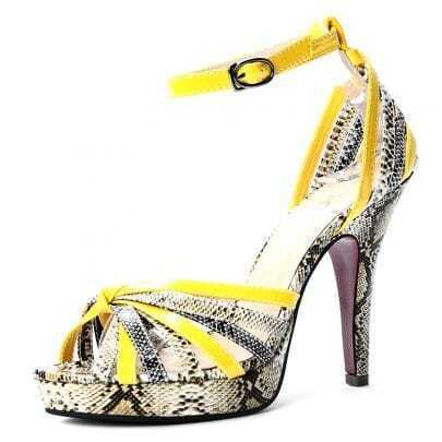 Yellow Snake Pattern PU Belt Buckle 120mm Sandals