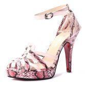 Pink Snake Pattern PU 120mm Sandals