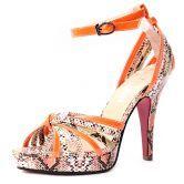 Orange Snake Pattern PU Belt Buckle 120mm Sandals