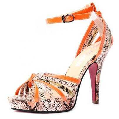 Orange Snake Pattern PU Belt Buckle 120mm Sandals