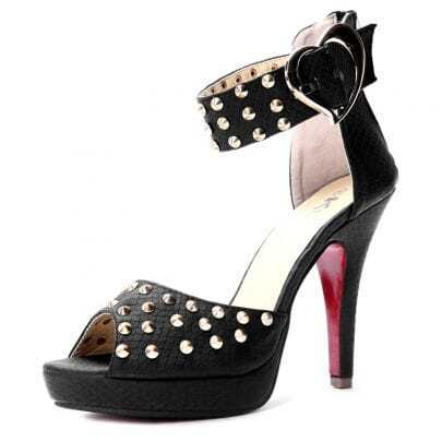 Black PU Studded 120mm Sandals
